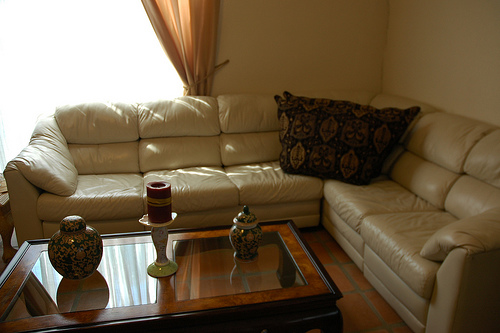 sofa with leather Upholstery