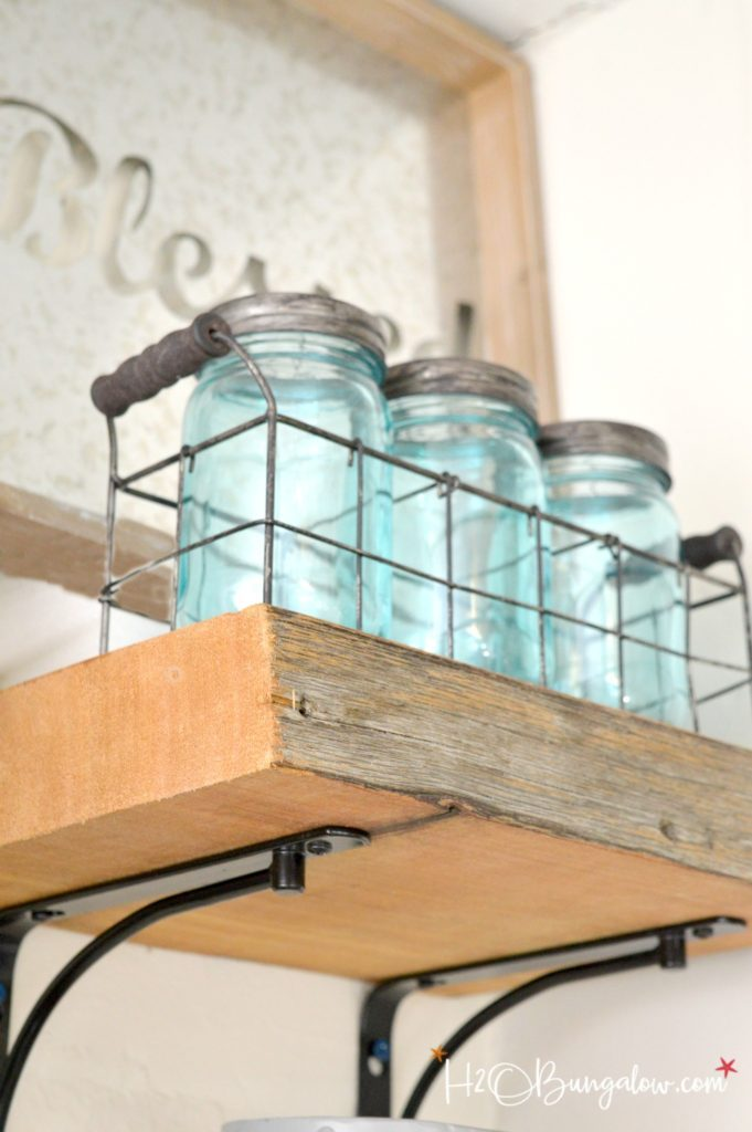 DIY Reclaimed Wood Kitchen Shelves